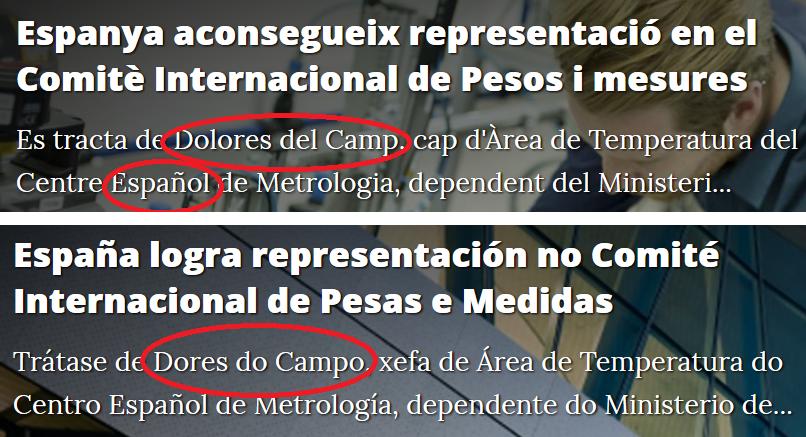 Las versiones de la noticia en catalán y vasco