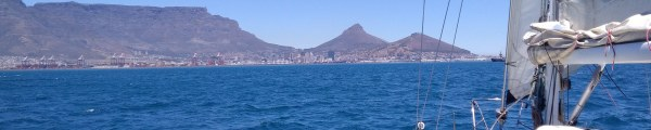 Cape Town, Table Mountain and the Lion's Head as viewed from the sea.