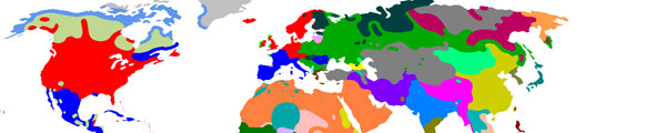 Language families of the world. I work with the Romance (blue) and Germanic (red) families.